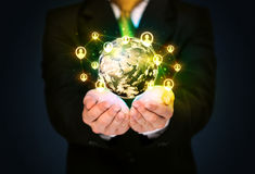 Businessman holding a social media globe Stock Image