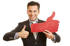 Businessman holding social media Royalty Free Stock Photography