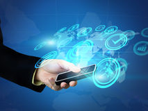 Businessman holding social media. Businessman holding touchscreen. social media concept Stock Images