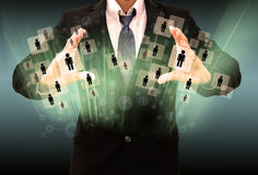 Businessman holding social network stock photography