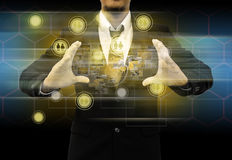 Businessman holding social network Royalty Free Stock Photos