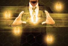 Businessman holding social network Stock Image