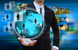Businessman holding The social network. Stock Images
