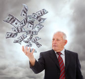 Businessman holding something Royalty Free Stock Images