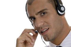 Businessman Holding Speaker Of Headphone Royalty Free Stock Photo