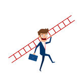 Businessman holding stair to target and success. Stair step to success. Cartoon Vector Illustration Royalty Free Stock Photo
