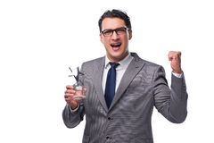 The businessman holding star award in business concept stock photos