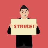 Businessman holding strike banner. Vector Illustration Stock Images