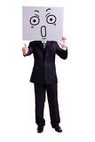 Businessman holding surprise expression billboard. And thumb up with isolated white background Stock Images