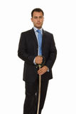 Businessman holding sword. And ready to fight Royalty Free Stock Photo