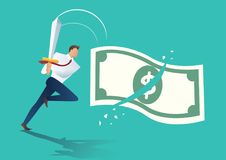 Businessman holding sword and cut money bill. business concept vector illustration.  Stock Images