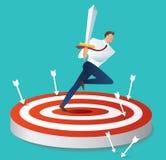 Businessman holding sword on target archery vector illustration stock illustration