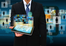Businessman holding tablet  business concept Stock Photography
