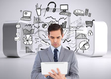 Businessman holding a tablet computer Royalty Free Stock Image