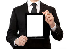 Businessman holding a tablet computer with isolated screen Stock Photography
