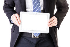 Businessman holding a tablet detail Stock Images