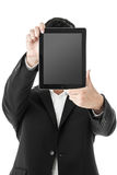 Businessman holding a tablet in face Royalty Free Stock Photo