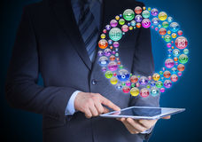 Businessman holding tablet in his hands Stock Image