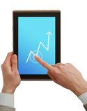Businessman holding tablet pc stock photos