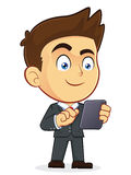 Businessman Holding Tablet PC. Clipart Picture of a Male Businessman Cartoon Character Holding Tablet PC Stock Image