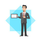 Businessman holding tablet and smiling Royalty Free Stock Image