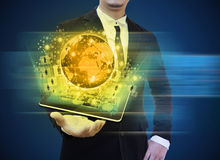 Businessman holding tablet technology royalty free stock photo