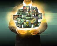 Businessman holding tablet technology and social media Royalty Free Stock Photos