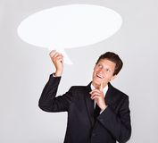 Businessman Holding Talking Bubble Royalty Free Stock Photos