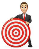 Businessman holding a target. 3d businessman holding a target Stock Photography