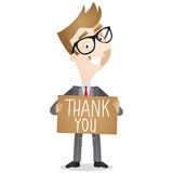 Businessman holding Thank you note. Vector illustration of a friendly cartoon businessman holding a brown sign that says thank you Stock Photography