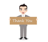Businessman holding Thank you