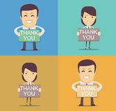 Businessman holding thank you sign Stock Photography