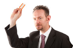 Businessman Holding a Ticket Royalty Free Stock Photography