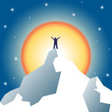 Businessman holding on top of mountain. Winner and leader concept. Vector illustration royalty free illustration