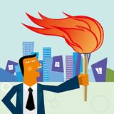 Businessman holding a torch in the street. stock illustration