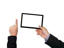 Businessman holding  touch screen device. Businessman holding blank touch screen device Royalty Free Stock Photos