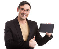 Businessman holding touch screen tablet pc Royalty Free Stock Photos