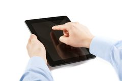 Businessman is holding and is touching digital tablet pc Royalty Free Stock Photography
