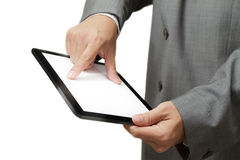 Businessman holding a touchpad Royalty Free Stock Images