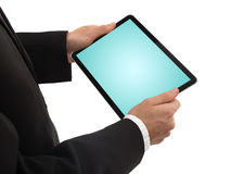 Businessman holding a touchpad pc Stock Photography