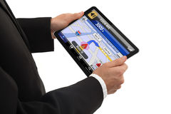Businessman holding a touchpad pc Stock Photos