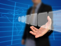 Businessman holding touchscreen. Business man holding touch screen Royalty Free Stock Image