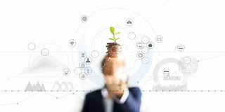 .Businessman holding a tree sprout growing on coins, abstract growth investing. Finance and icon customer, banking network stock photography
