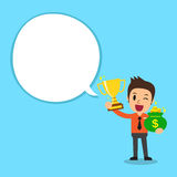 Businessman holding trophy and money bag with white speech bubble Royalty Free Stock Image