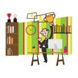 Businessman holding trophy vector illustration