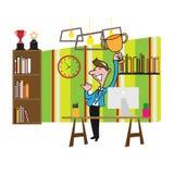Businessman holding trophy royalty free illustration