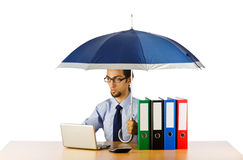 Businessman holding umbrella Stock Photography