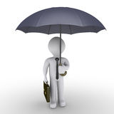 Businessman holding umbrella. 3d businessman is holding an opened umbrella Royalty Free Stock Image