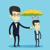 Businessman holding umbrella over man. Royalty Free Stock Image