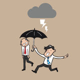Businessman holding umbrella protect boss from strom royalty free illustration